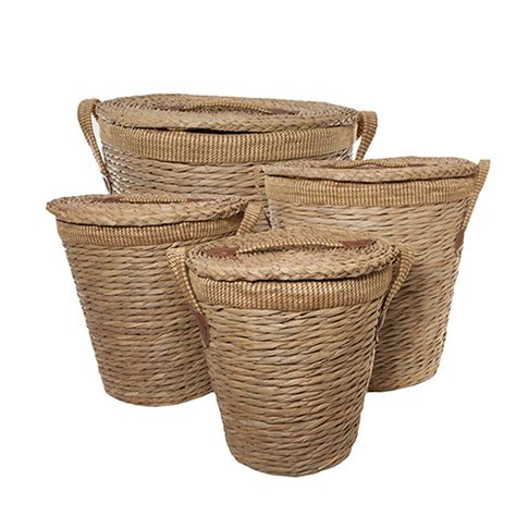 Bathroom Storage Basket With Lid And Lined Laundry Bin Baskets With Handles And