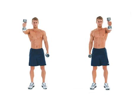dumbbell arm swings two arm alternating dumbbell swing men s fitness
