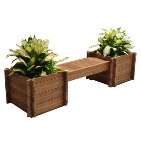 wood bench home depot thermod 82 in x 18 in modula wood planter bench modula