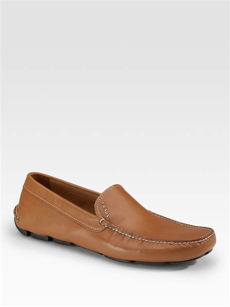 prada driving shoes prada leather driving moccasins in beige for lyst
