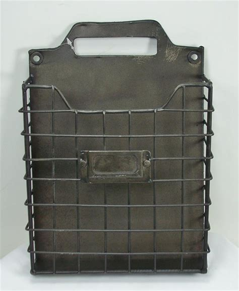 wall pocket organizer rustic style metal wire basket wall pocket organizer