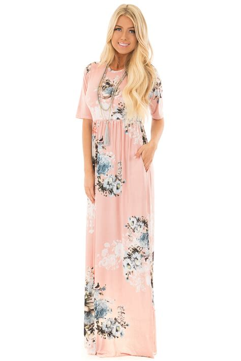 Maxi Dusty Pink dusty pink floral print maxi dress with pockets