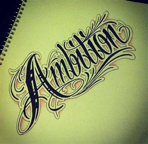 Tattoo Lettering Sketch | ambition tattoo sketch tattoos pinterest ash