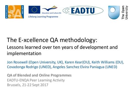lessons learned from 10 years of entrepreneurship and why ill eadtu enqa pla the e xcellence qa methodology lessons