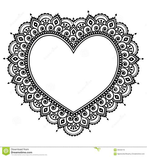 heart mehndi design indian henna tattoo pattern love
