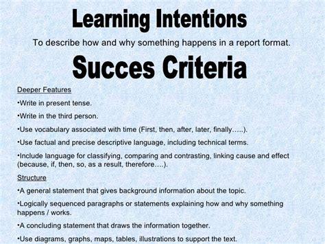 book report criteria success criteria for information report writing