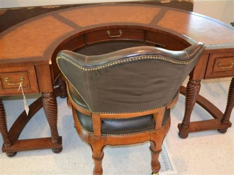 Half Desk by Half Leather Inlayed Top Desk W Spiral Twist Legs