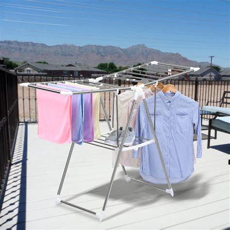 Outdoor Clothes Hanger Rack by Folding Collapsible Clothes Drying Laundry Rack Dryer
