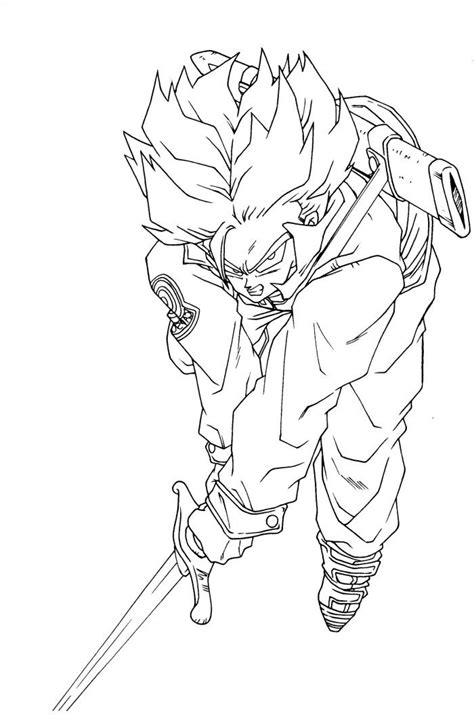 dragon ball z trunks coloring pages free kid trunks gt coloring pages