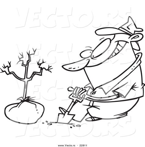 dog digging coloring page vector of a cartoon guy planting a tree coloring page