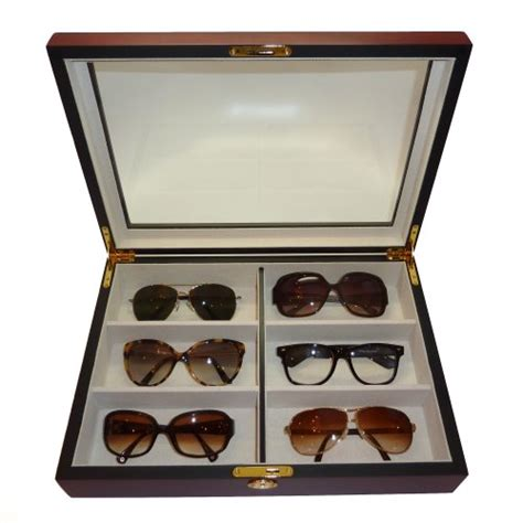 6 cherry wood eyeglass sunglass oversized glasses storage