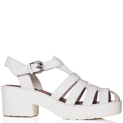 buy chunky sole platform gladiator sandal shoes white leather style