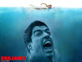 Suarez Bite Meme - luis suarez parodied as jaws dracula and hannibal as