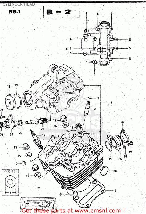 Suzuki Gs125 1982 Z Cylinder Head Schematic Partsfiche