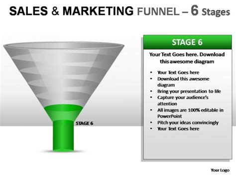 Sales And Marketing Funnel 6 Stages Powerpoint Presentation Slides Sales Funnel Powerpoint
