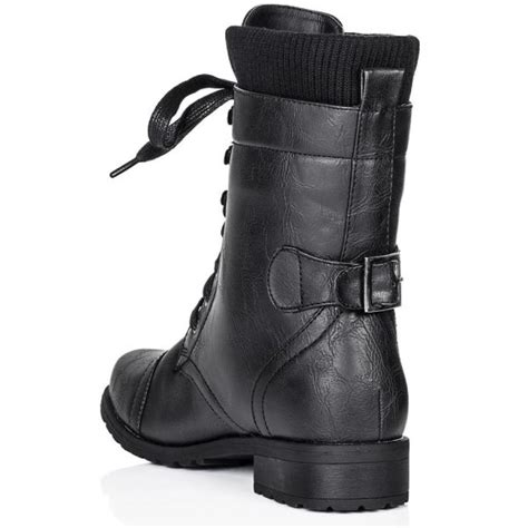buy okd flat cleated sole biker ankle boots black leather