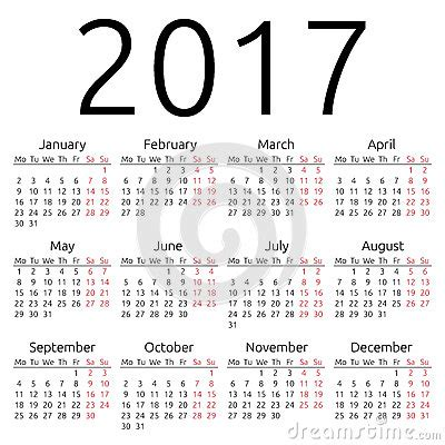 Calendario N Settimane Calendario Simple 2017 Vector Ilustraci 243 N Vector