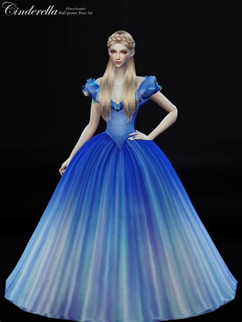 flower chamber cinderella ball grown poses set sims  downloads