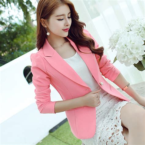 Bigsize Fuchsia Slim Look Dress Made In Korea 1 aliexpress buy plus size s 2xl blazer 2016 sleeve blaser fashion