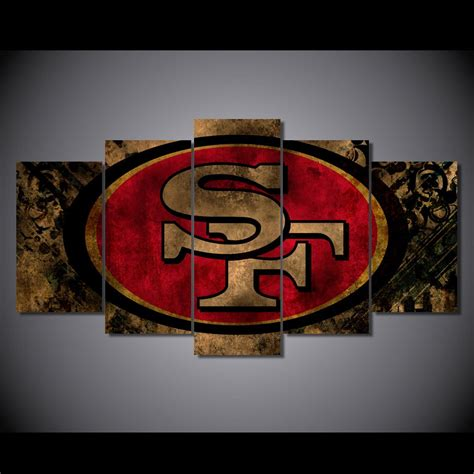 san francisco 49ers home decor san francisco 49ers sports framed 5pc oil painting wall