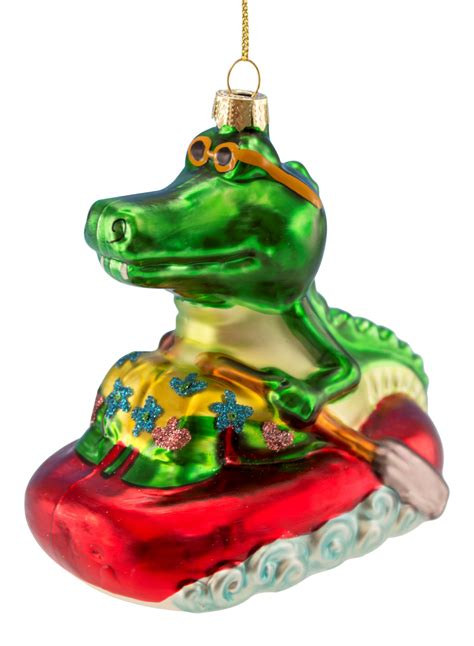 cool alligator in life raft blown glass christmas holiday