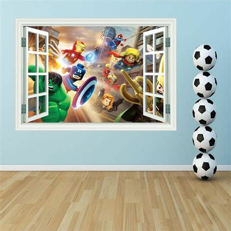 lego wall murals 3d lego heroes window colour print wall sticker d