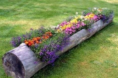 how to make beautiful log garden planter