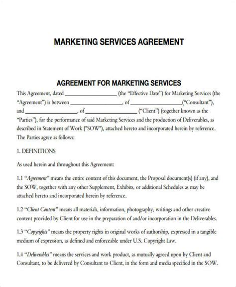 marketing services agreement template 7 marketing agreements free sle exle format