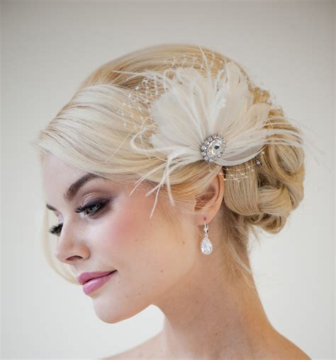 bridal fascinator feather wedding head piece by