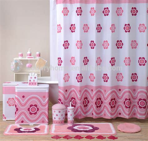 bathroom curtains sets hot sale bathroom set shower curtain and matching pp bath accessories bath mat set