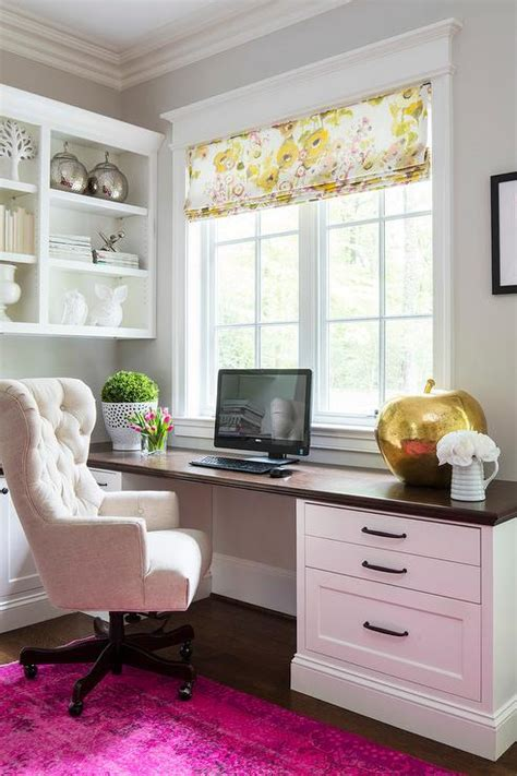 Home Office Desk Window Home Office With Wood Top Built In Desk And Pink