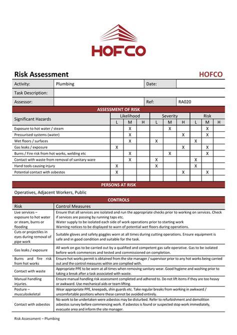 Plumbing Risk Assessment by Hofco Risk Assessment