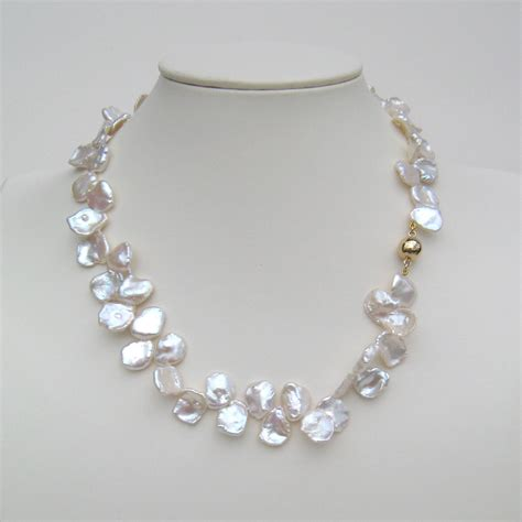 keshi pearl keshi pearl necklace with 18 carat yellow gold magnetic