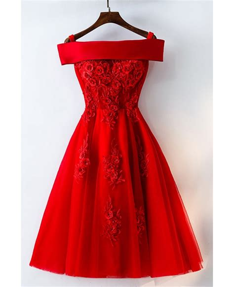Short Off Shoulder Red Lace Bridal Party Dress #MYX18171   GemGrace.com