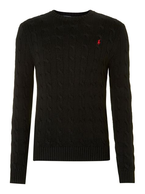 polo ralph cable knit jumper polo ralph classic cable knit crew neck jumper in