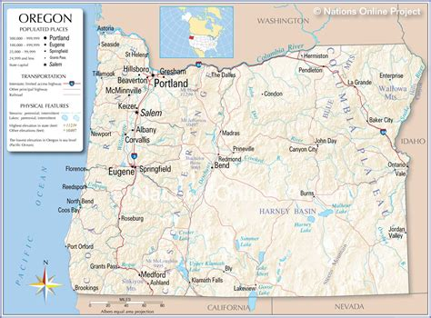 oregon usa map reference maps of oregon usa nations project