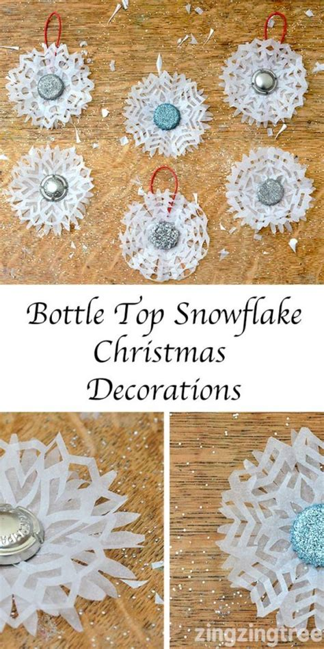 Make Your Own Decorations by How To Make Stunning Bottle Top Snowflake Decorations