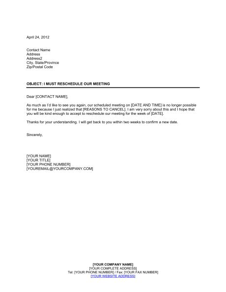 Apology Letter Postpone Meeting i must reschedule our meeting template sle form