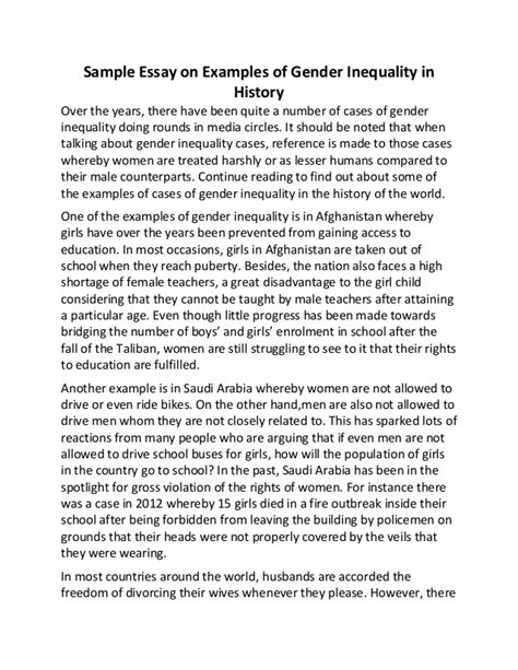 Gender Inequality Essays by Sle Essay On Exles Of Gender Inequality In History