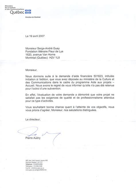 Demande De Financement Lettre Fondation Litt 233 Raire Fleur De Lys Relations Avec Les Gouvernemenmts Du Canada Et Du Qu 233 Bec
