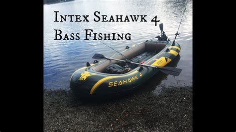 inflatable fishing boat video intex seahawk 4 inflatable boat bass fishing youtube