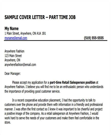 covering letter for part time 26 letters