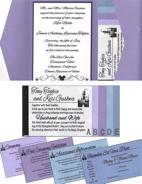 tony s disneyland ticket book wedding invitations - Sending Wedding Invitations To Disneyland