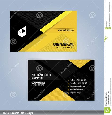 Black Business Card Template Vector by Yellow And Black Modern Business Card Template Stock