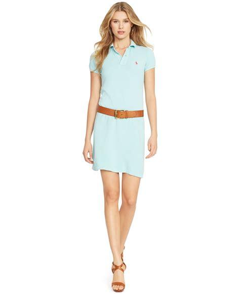 Mini Dress Casual Kasual Biru Polos Slit Dress Import Murah lyst polo ralph mesh polo mini dress in blue