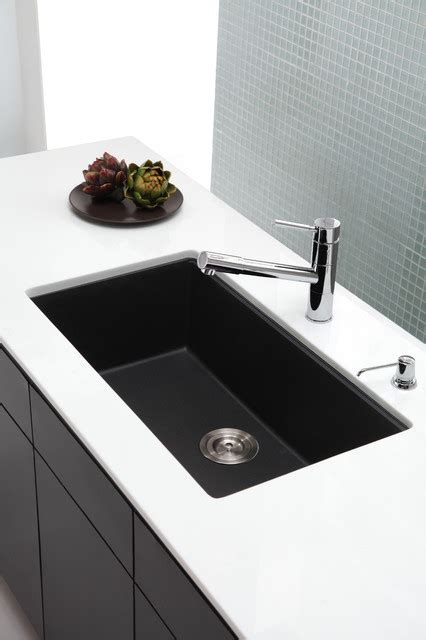 Black Kitchen Sink Undermount Kraus Kgu 413b Undermount Single Bowl Black Onyx Granite Kitchen Sink Modern Kitchen Sinks
