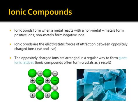 ionic compounds noadswood science ppt