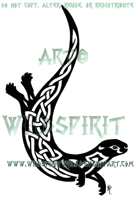 tribal otter tattoo knotwork otter by wildspiritwolf on deviantart