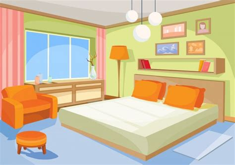 bedroom cartoon design vector cartoon illustration interior orange blue bedroom