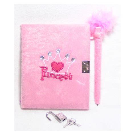 Dairy Pink locking diary princess fuzzy with pen lock and key